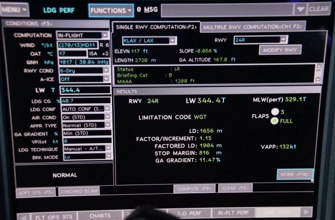 Landing performance calculation
